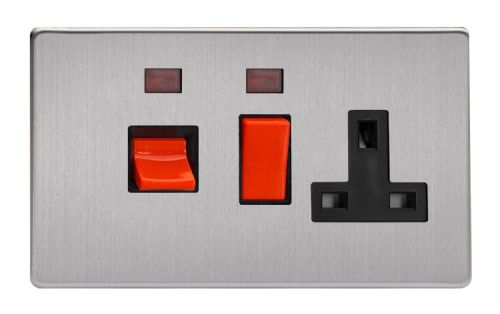 Varilight XDS45PNBS Screwless Brushed Steel 45A DP Cooker Switch + 13A Switched Socket